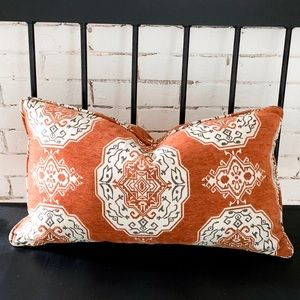 Rust Patterned Lumbar Pillow Cover